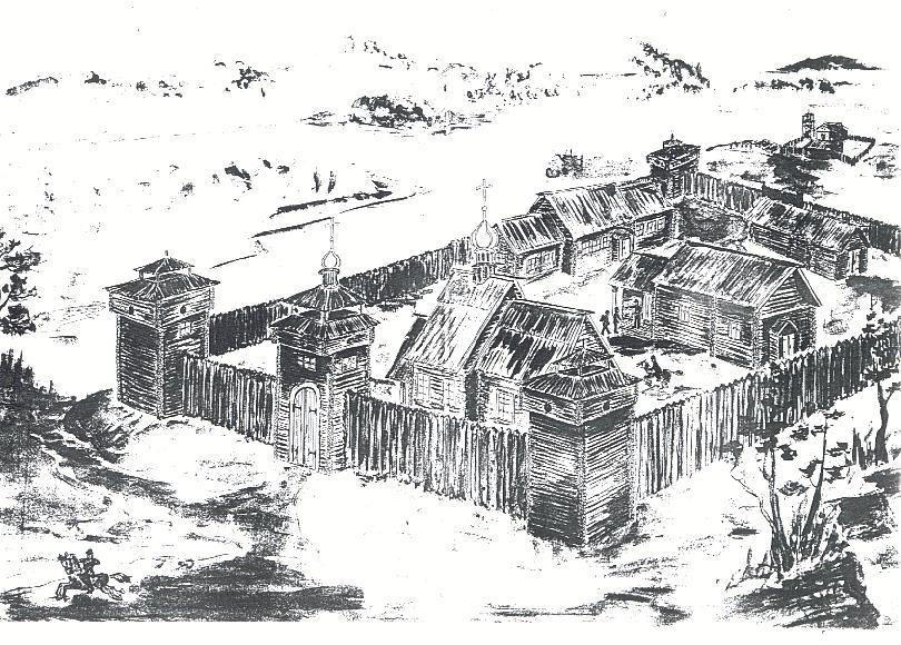Кабанский острог. 1693 г. Реконструкция. Автор - В.И. Поломошин